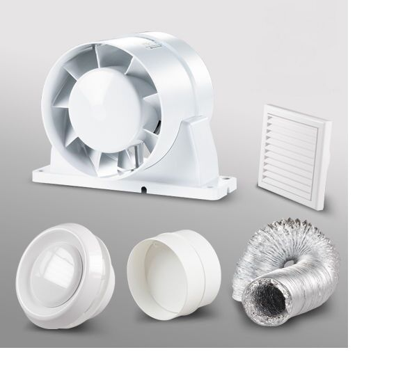 In line shower bathroom extractor fan loft kit 150mm 6 ebay for 6 bathroom extractor fan
