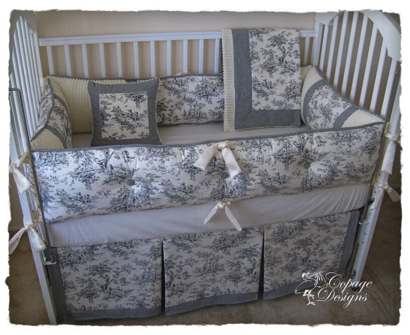 Toile Bedding: BLACK CENTRAL PARK TOILE NURSERY BABY CRIB BEDDING SET