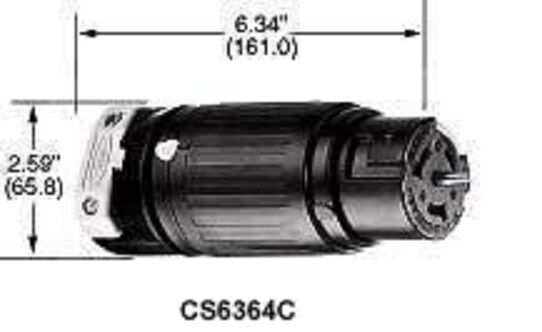 Cs6364 50a 125  250v Female Twist Lock Hubbell Connector