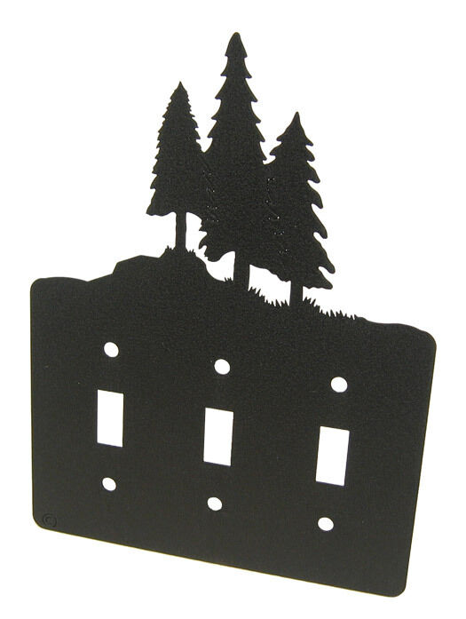 3 Pine Trees Black Metal Triple Light Switch Plate Cover