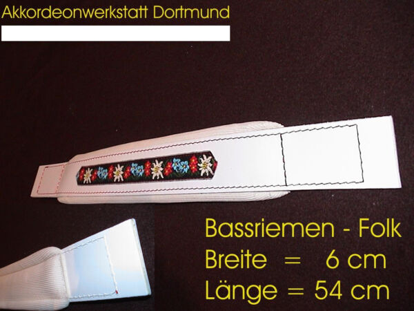 6 x 54 cm, Akkordeon Bassgurt, correa acordeon, accordion bass strap FOLK White