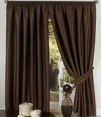 Chocolate Brown Lined Faux Silk Curtains + Ties 8 Sizes | eBay