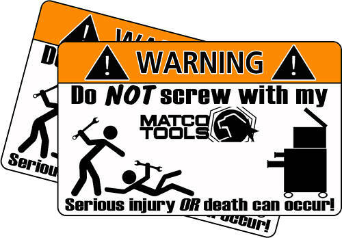 Matco Wrench Tool Toolbox Warning Sticker Decal Box Ebay