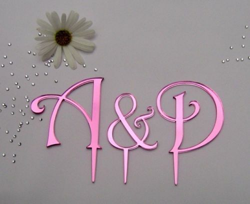 Wedding Cake Toppers Letters Uk : monogram mirror acrylic wedding cake toppers letters eBay