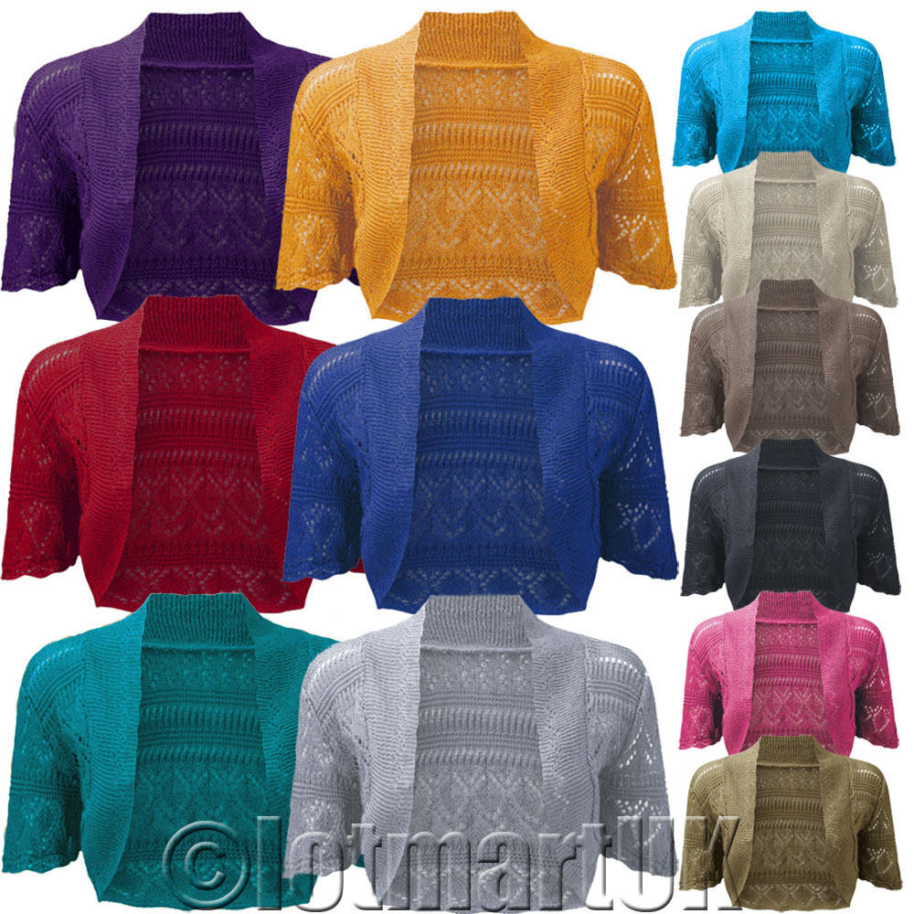 Ladies Bolero Shrug Crochet Knitted Cardigan Womens Top eBay