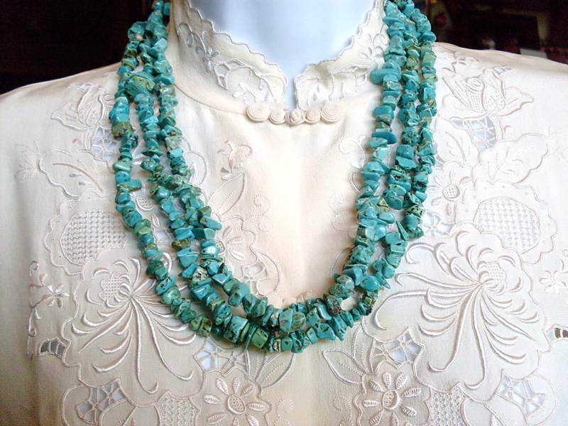 Vintage Beautifil Layered Turquoise Beaded Necklace Estate Jewelry Ebay