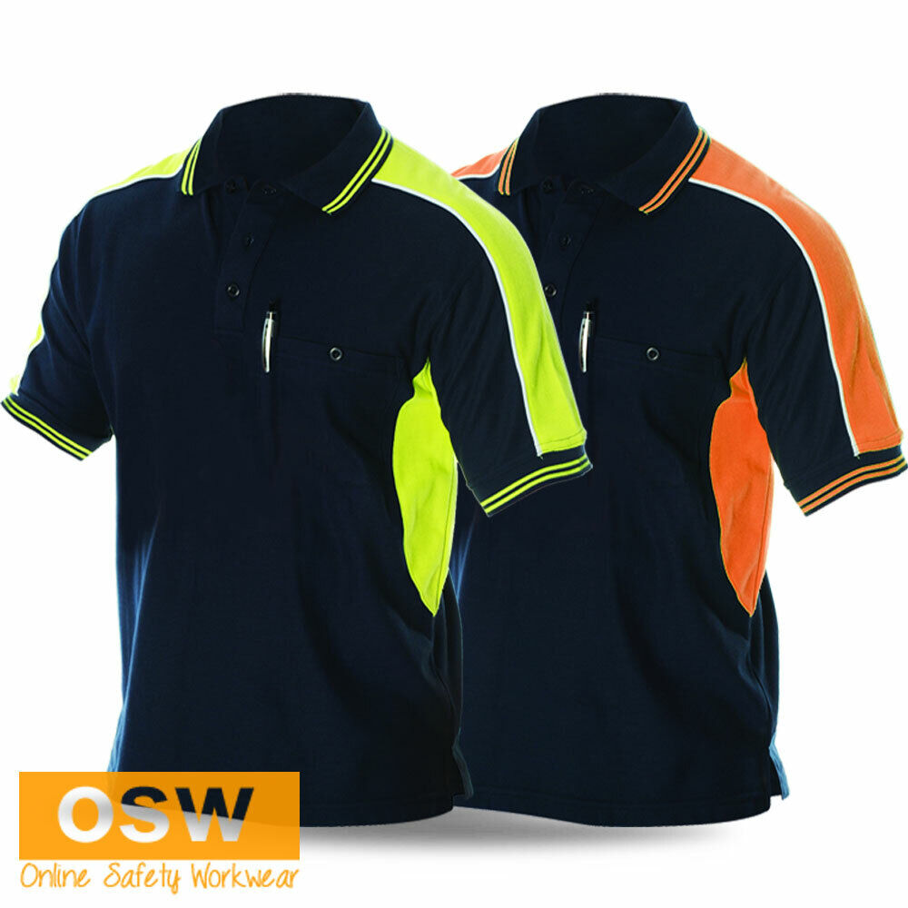 Hi vis polo shirt two tone panel poly cotton work wear ebay for Hi vis safety shirts