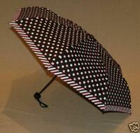 Compact Folding Pink and White Spots Umbrella