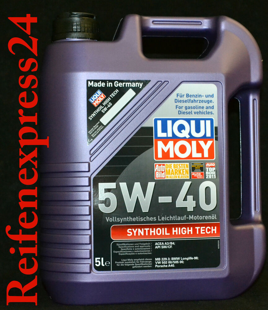 5 liter liqui moly synthoil high tech 5w 40 motor l 5w40. Black Bedroom Furniture Sets. Home Design Ideas