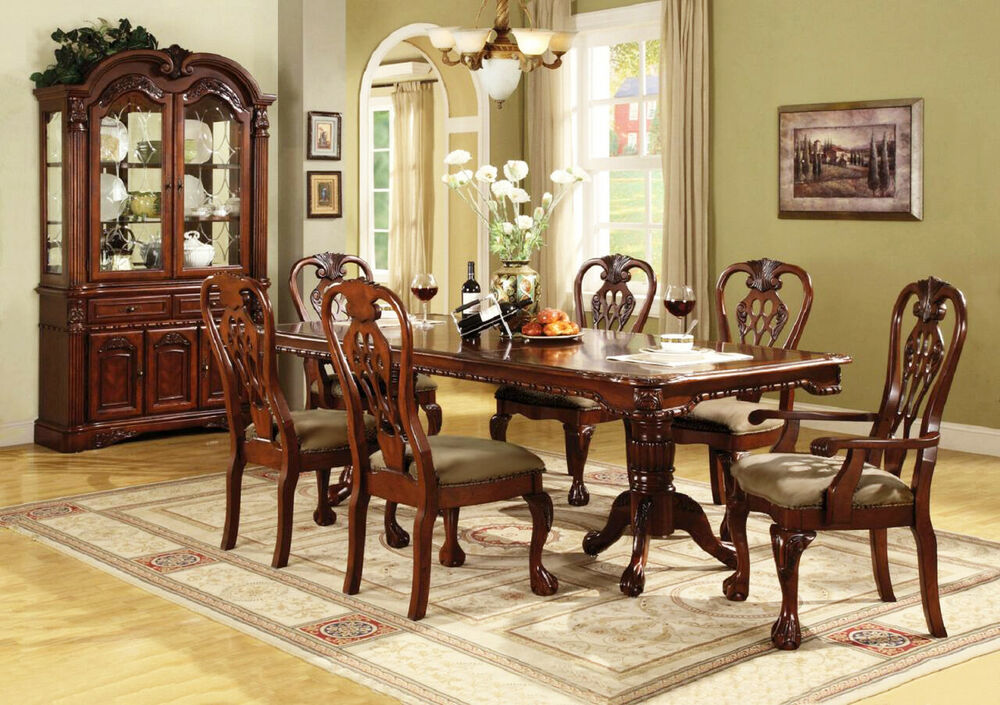 Brussels formal dining room 7 piece furniture set for Cherry wood dining room set