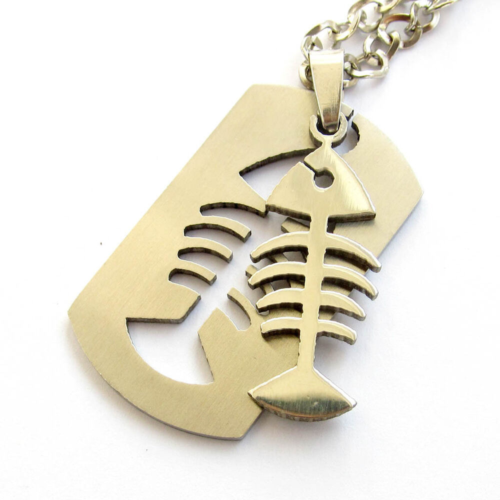 Stainless steel fish skeleton pendant chain necklace ebay for Fish skeleton necklace