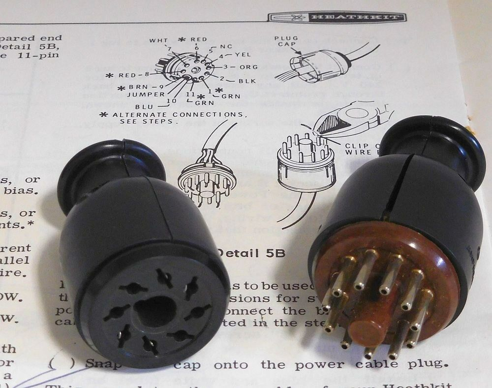 New 8 And 11 Pin Connectors For Heathkit Power Supply
