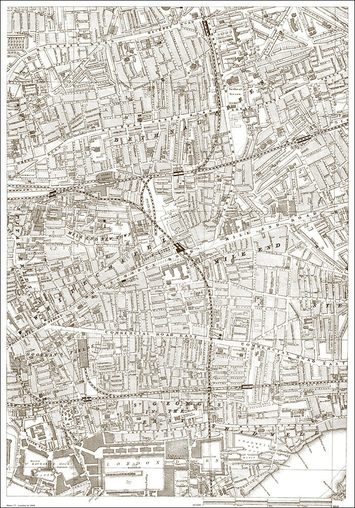London Map Shoreditch Area: Bethnal Green, Commercial Rd East - London 1888 Map 17