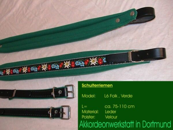 6 cm Akkordeongurte, Riemen, correas para acordeon, Accordion Straps FOLK green