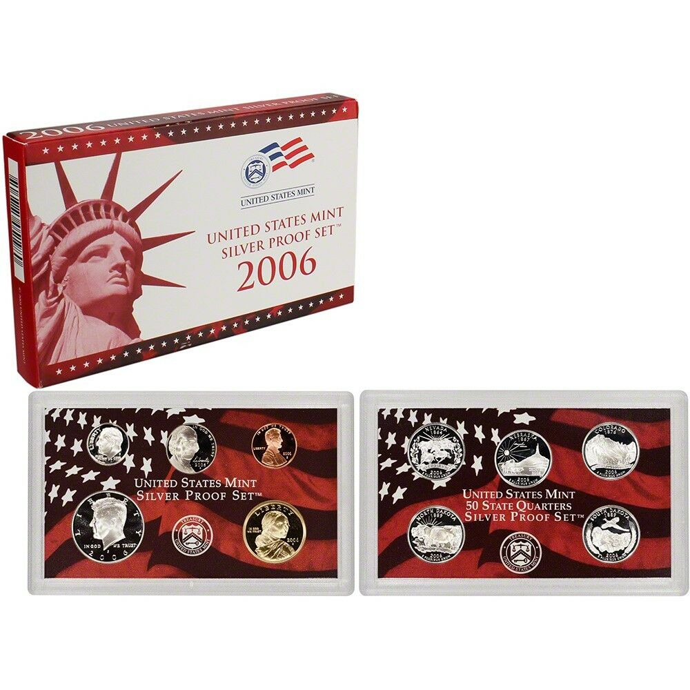 2006 US Mint Silver Proof Set 10 Gem Coins w/ Box & COA