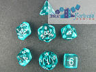 CHESSEX TRANSLUCENT DICE 7 DIE SET TEAL WITH WHITE D4