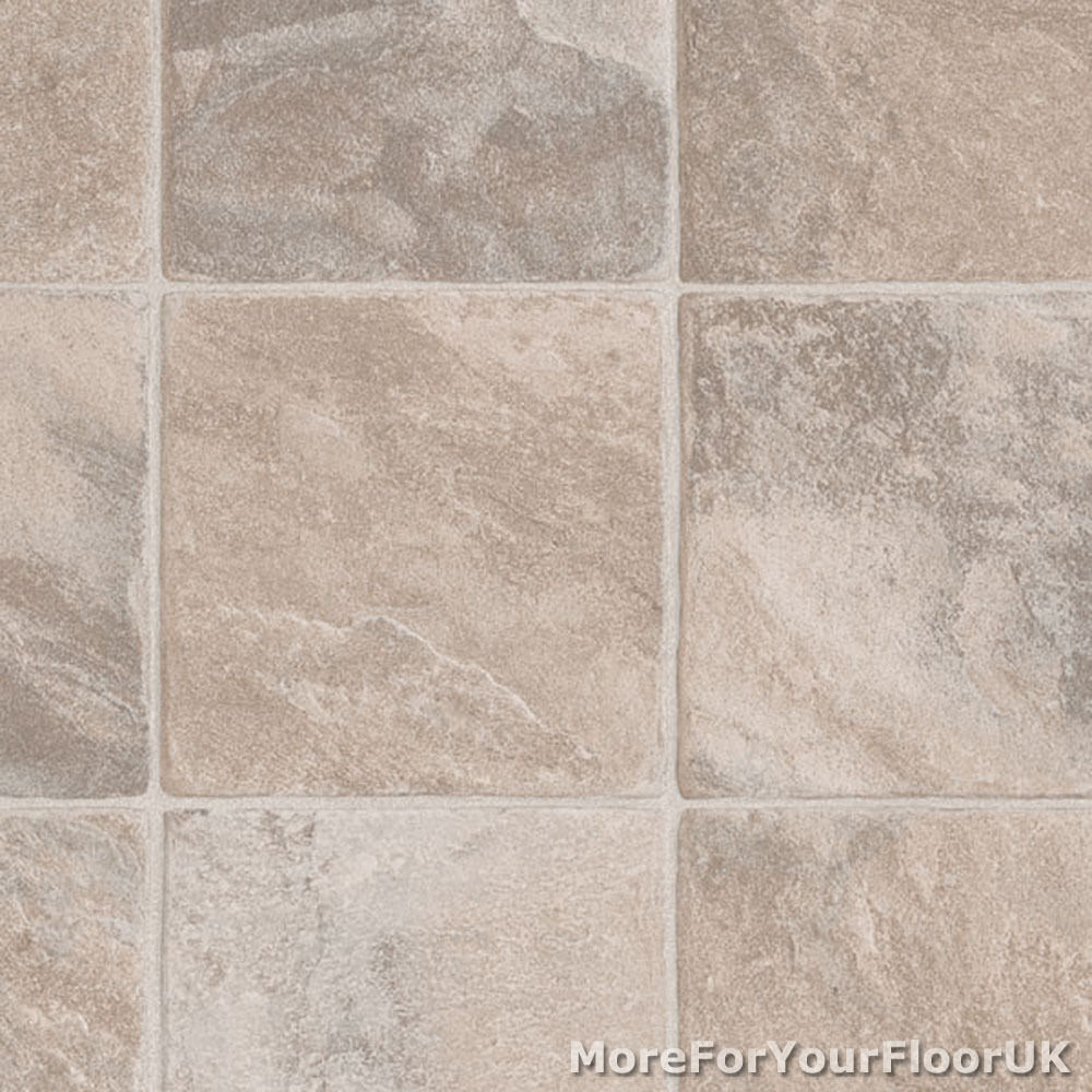 Quality vinyl flooring kitchen bathroom beige tile lino ebay for Kitchen vinyl floor tiles
