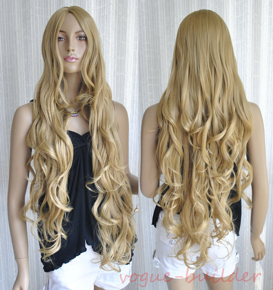 35 Quot Long Golden Blonde Spiral Wavy Cosplay Hair Wig 24 Ebay