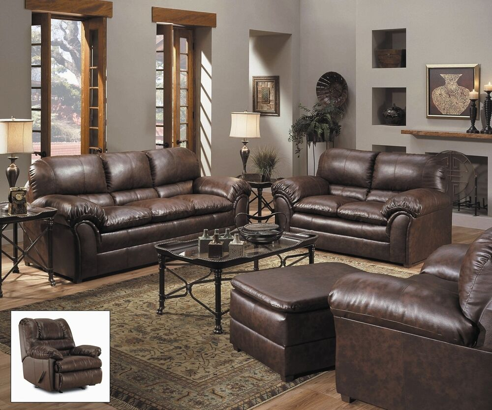 Sofa & Love Seat Casual Brown 100% Bonded Leather Living