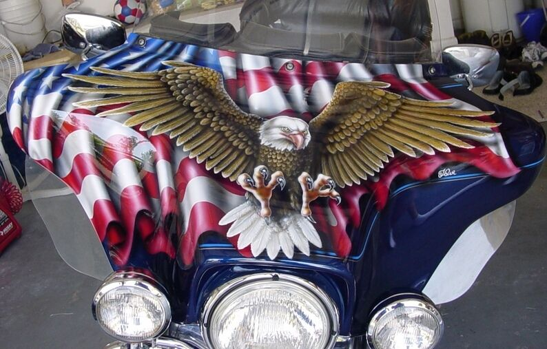 Custom Paint Job On Your Tins Quot Flag Amp Eagle Quot Fairing Ebay