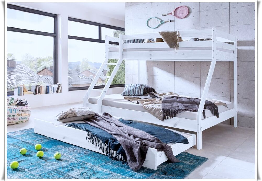 kinderbett etagenbett hochbett stockbett massiv kiefer weiss mit 90x140x200 neu ebay. Black Bedroom Furniture Sets. Home Design Ideas