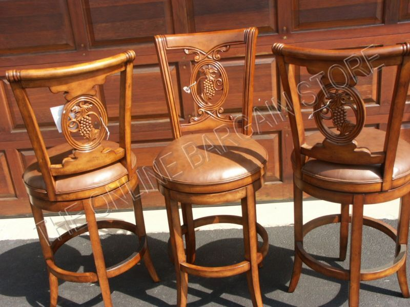 Frontgate Carved Grape Counter Bar Leather Barstools