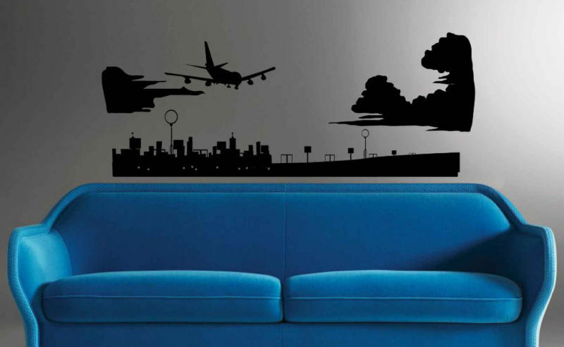 Boeing airplane airport landing wall mural vinyl decal ebay for Airplane cockpit wall mural