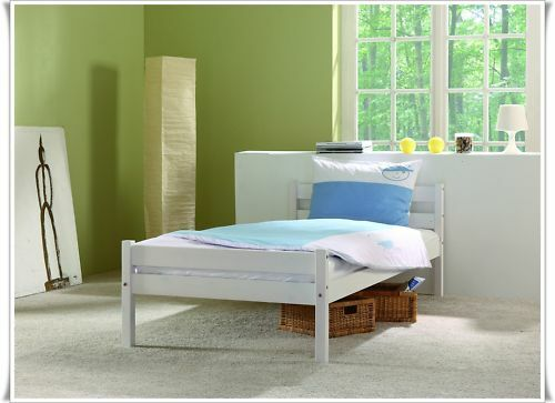 einzelbett jugendbett 90x200 cm kiefer weiss neu ebay. Black Bedroom Furniture Sets. Home Design Ideas