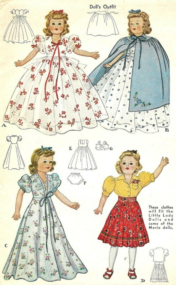 vintage 18 quot doll clothes pattern 918 ebay