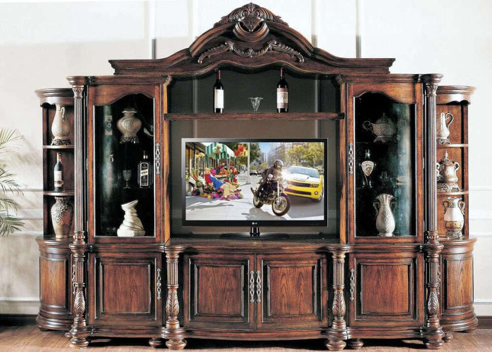 Large ornate mahagany wall unit tv entertainment center ebay for Large tv wall units