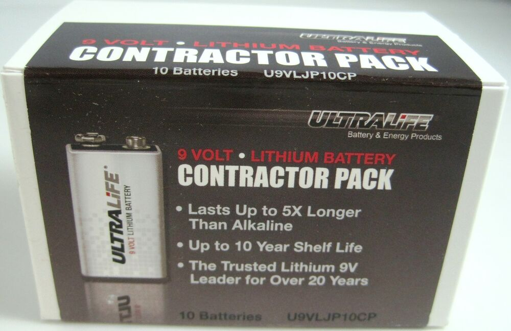 ultralife 9v lithium contractor pack 10 batteries ebay. Black Bedroom Furniture Sets. Home Design Ideas