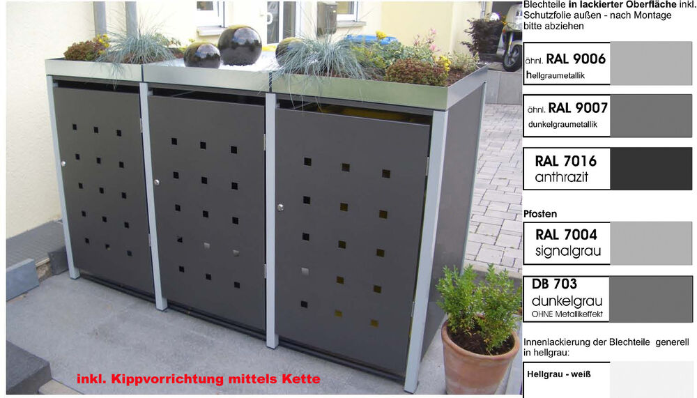 metall m lltonnenbox aus metall m llbox m lltonnenschrank 3x240 l k foliert ebay. Black Bedroom Furniture Sets. Home Design Ideas
