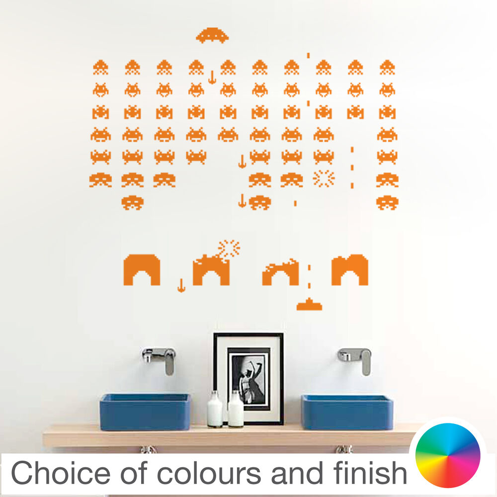 Space Invaders Retro Wall Sticker Home Decor Bedroom Living Room Kitchen Decal Ebay