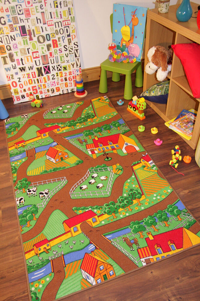 Childrens Tractor Mat Bright Farm Life Rug Country Kids
