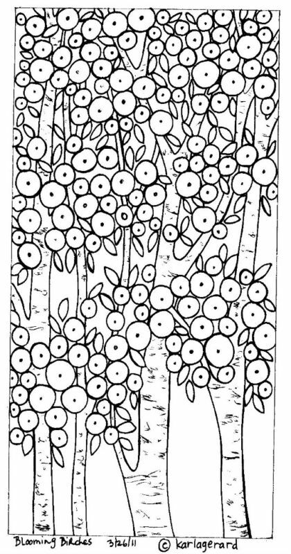 Rug hook craft paper pattern blooming birches folk art for Folk art coloring pages