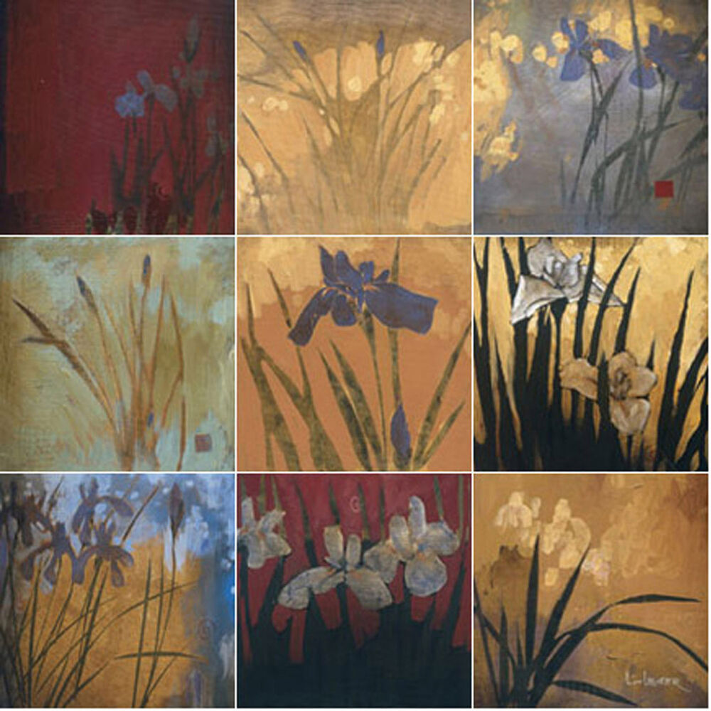 Art mural ceramic backsplash bath iris decor tile 21 ebay for Artwork on tile ceramic mural