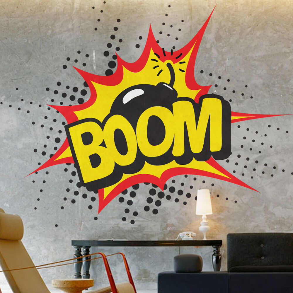 BOOM Pop Art Retro Comic Wall Sticker Home Decor Bedroom Living Room ...