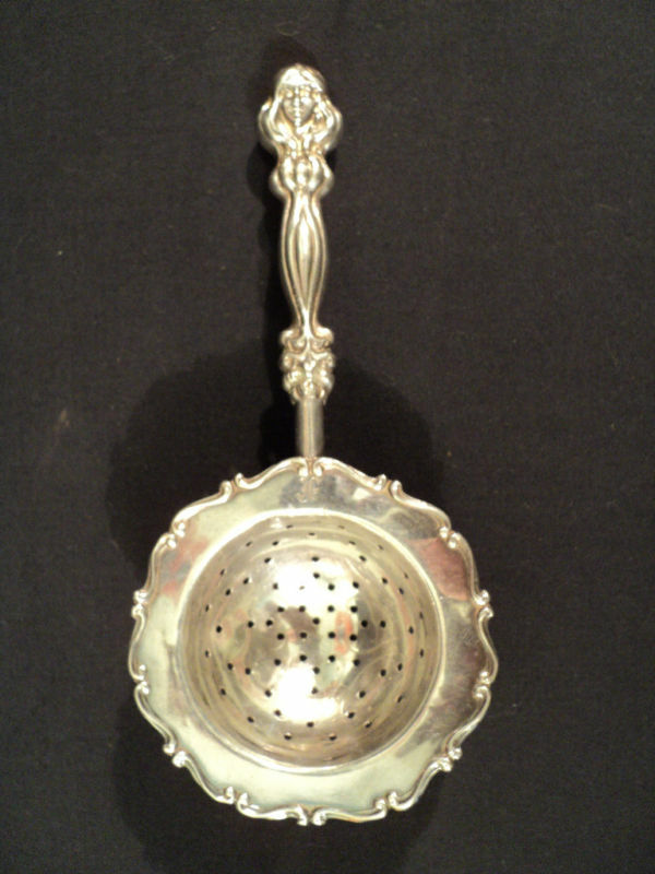 Antique Sterling Silver Tea Strainer W Figural Handle Ebay