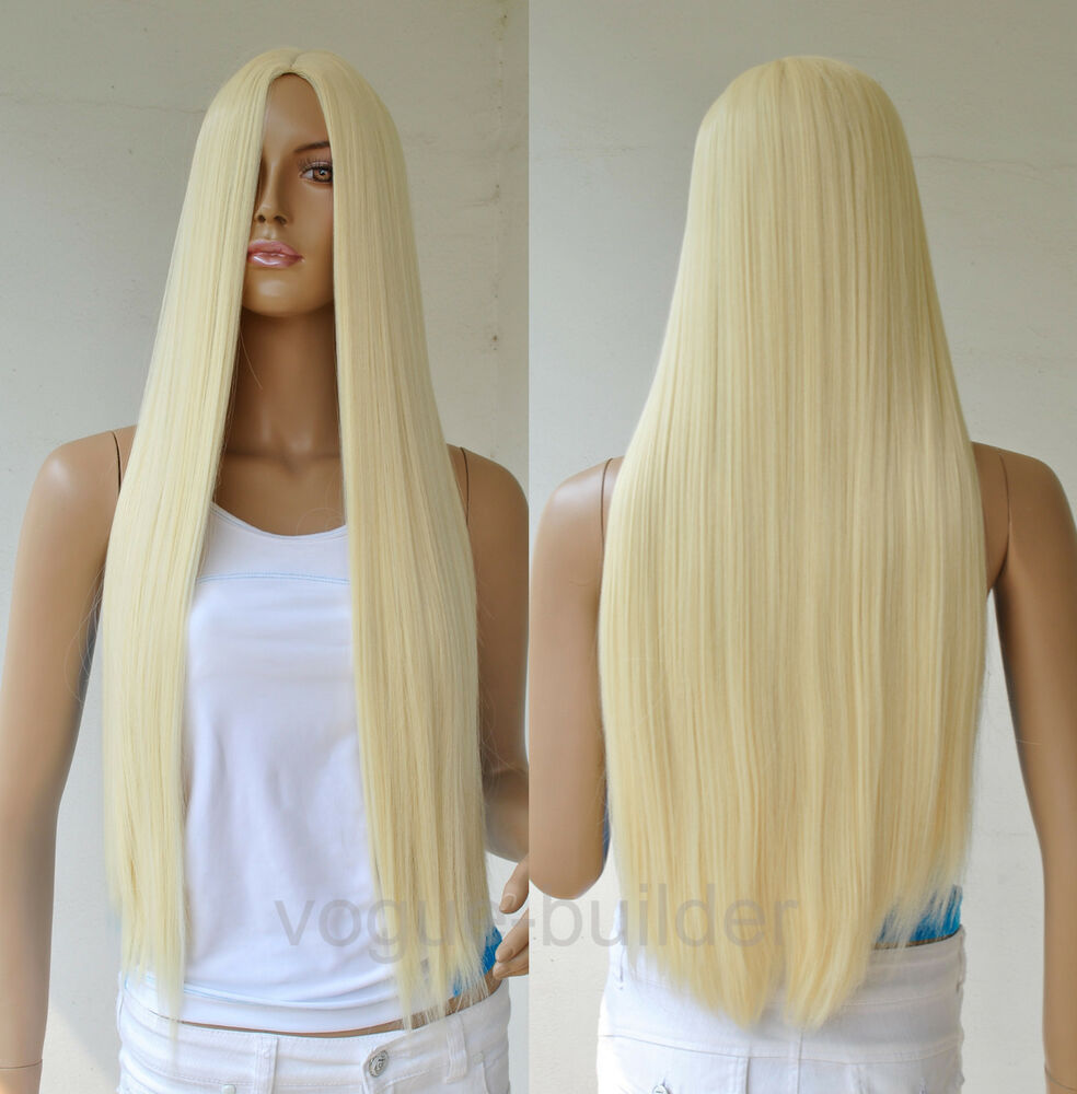 28'' Long Blonde Straight Cosplay Party Hair Wig 613# | eBay