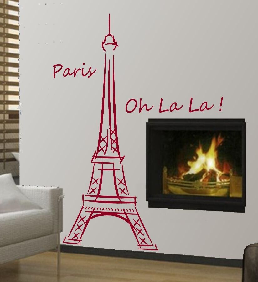Small Eiffel Tower Wall Decor : Eiffel tower paris ooh la wall art decor removable