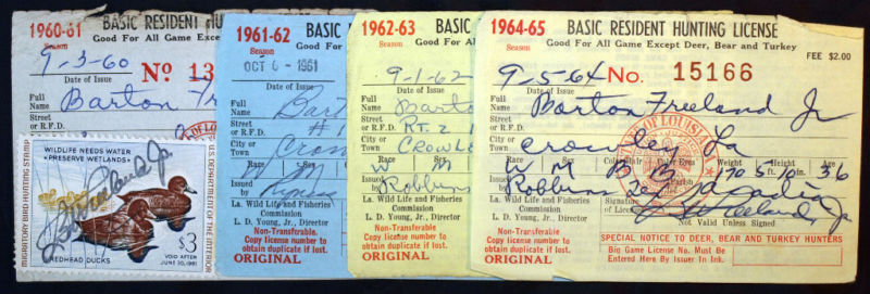 Rw27 rw31 la hunting licenses 4 diff year bl9702 ebay for Fishing license in louisiana