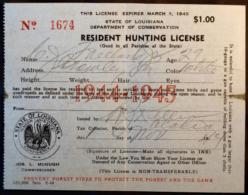 Rw11 duck stamp attached la hunting license bl9723 ebay for Fishing license in louisiana