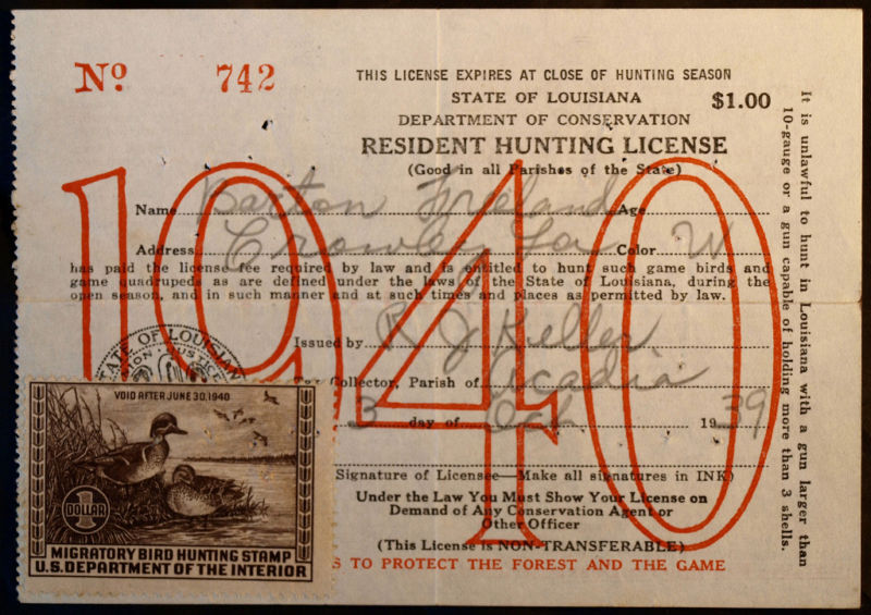 Rw6 duck stamp attached la hunting license bl9726 ebay for Fishing license in louisiana