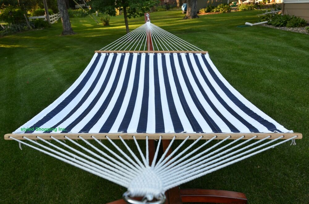 Two Person Large Brown Quilted Hammock Set Stand