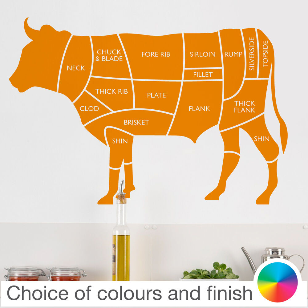 beef cow cuts of meat diagram wall sticker home decor. Black Bedroom Furniture Sets. Home Design Ideas