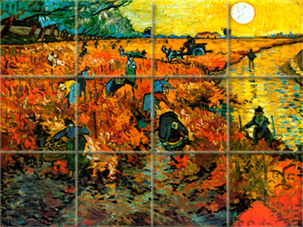 Vineyard vincent van gogh mural ceramic backsplash tile for Mural van gogh