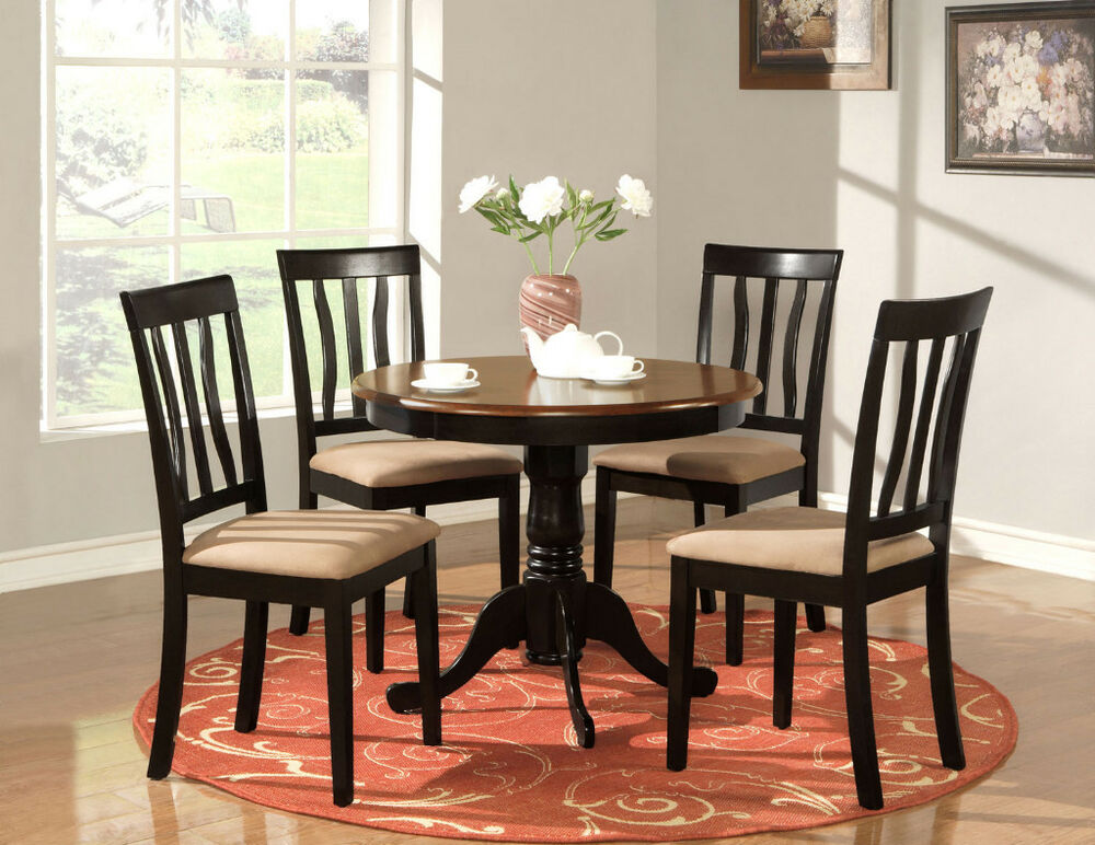 5 PC ROUND TABLE DINETTE KITCHEN TABLE & 4 CHAIRS OAK
