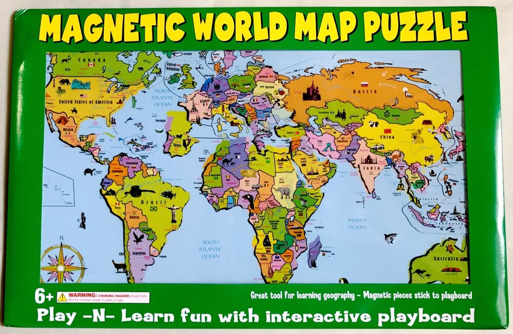 World magnetic puzzle map learn countries and caps ebay customize world magnetic puzzle map learn countries and caps ebay gumiabroncs Images