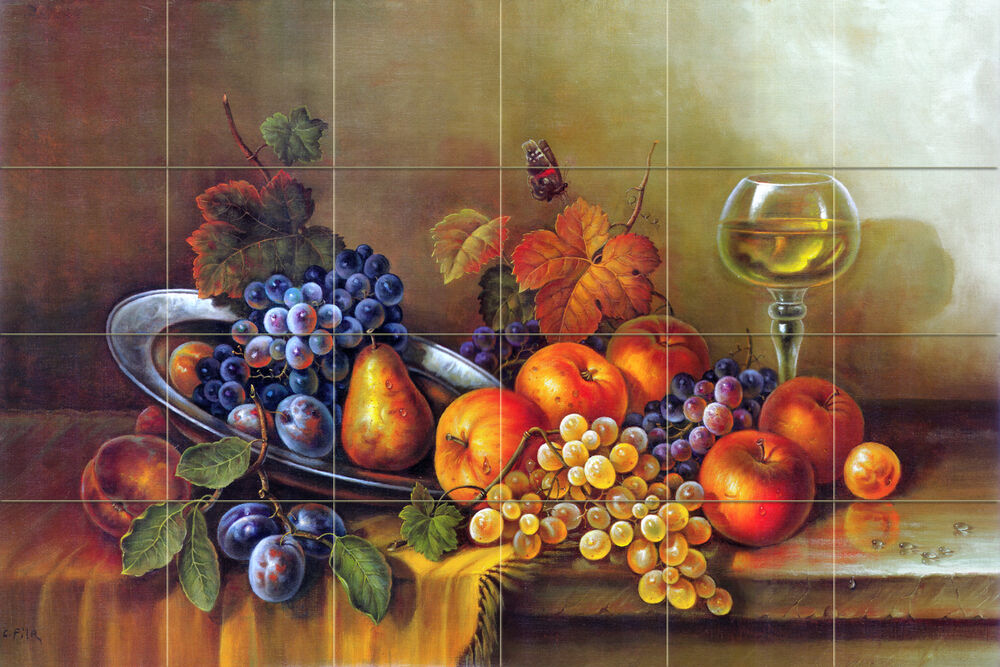 Art corrado pila mural ceramic breakfast fruits decor for Ceramic mural art