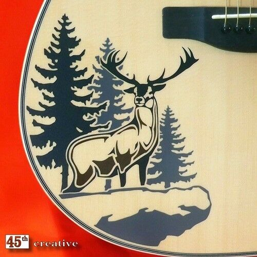 deer cliff acoustic guitar decal fender starcaster squi ebay. Black Bedroom Furniture Sets. Home Design Ideas